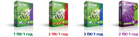 Изображение коробок Dr.Web Security Space и Антивирус Dr.Web на 2 ПК/1