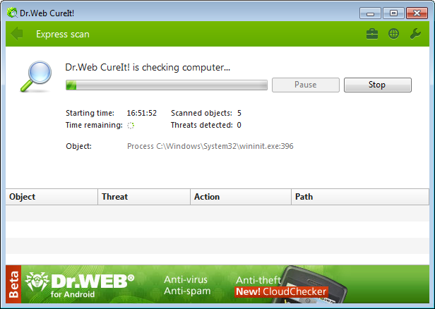 Dr.Web CureIt Screenshot