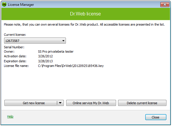 Dr.Web Antivirus fr Windows Screenshot