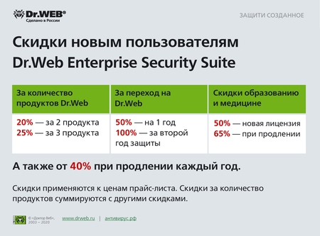 Скидки новым пользователям Dr.Web Enterprise Security Suite