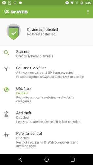 screenshot Dr.Web Security Space for Android #drweb