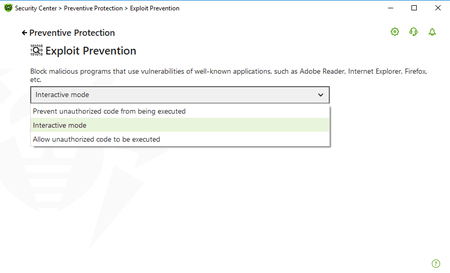 Screenshot: Exploit Prevention