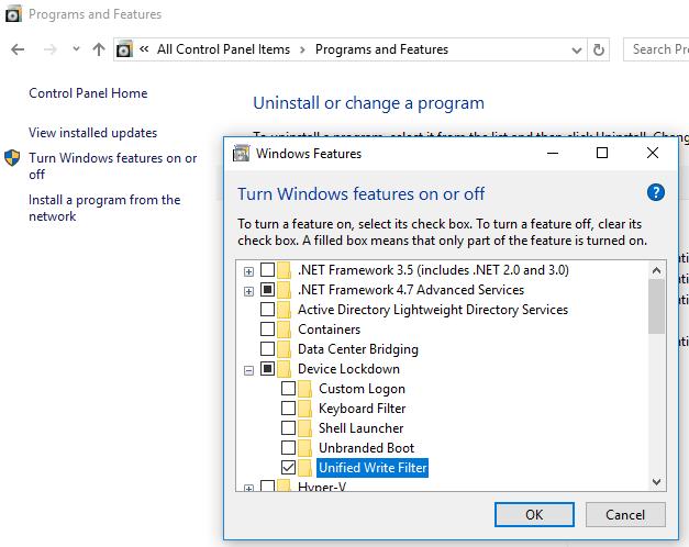 Unified Write Filter Windows Updates